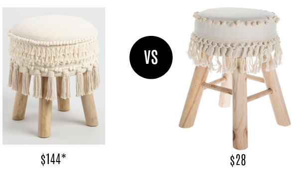 World Market Ivory Pom and Fringe Boho Stool Look for Less