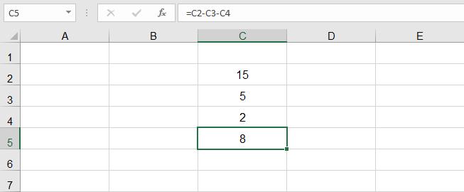 عملية الطرح في Excel