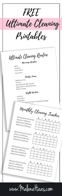 Free Double Sided Cleaning Inserts with Habit Tracker  - www.MalenaHaas.com