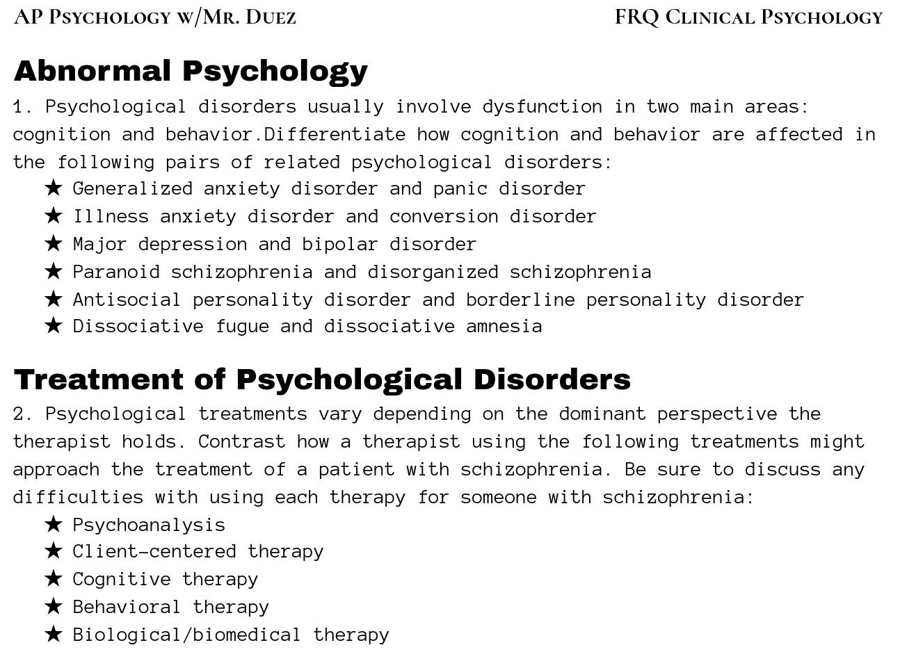 AP Psychology with Mr  Duez: April 2019