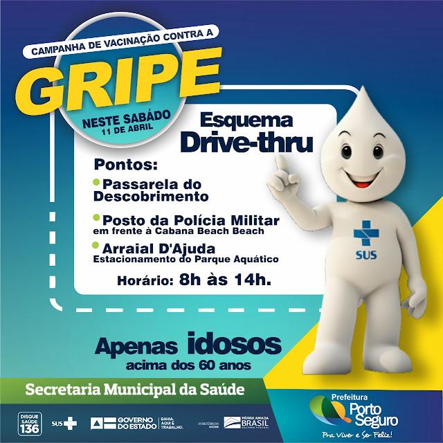 Porto Seguro - Esquema de vacinação drive-thru será disponibilizada para idosos