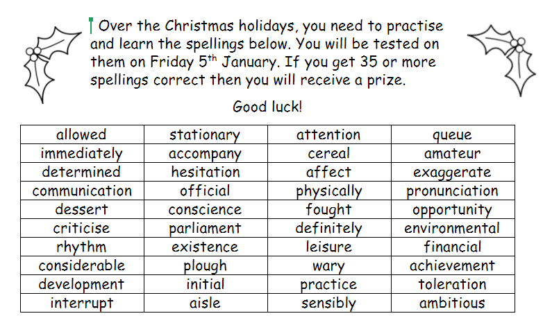 Christmas Spelling Words.Mead Primary Year 6 Christmas Spelling List