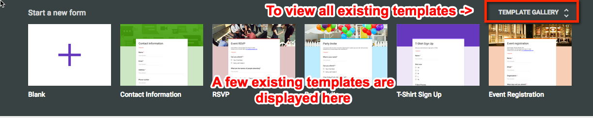 After That You Will Both See A Top Bar With Existing Templates AND Link In The Upper Right Says Template Gallery