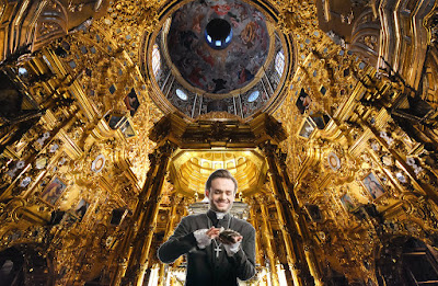 Vatican priest holding money in church picture