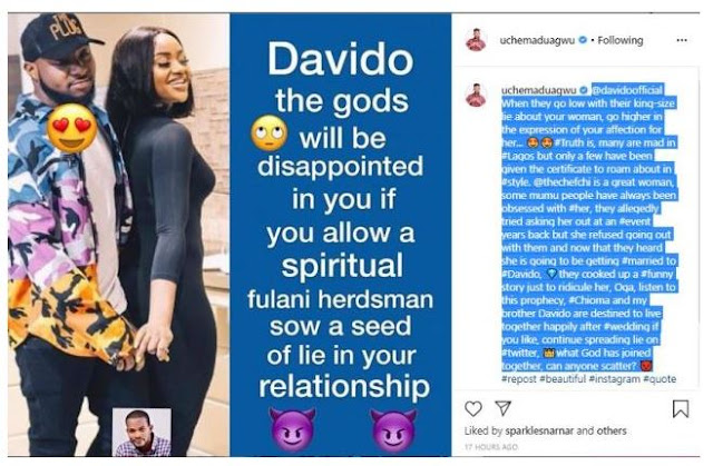 Chioma & my brother Davido are destined to live together happily – Uche Maduagwu