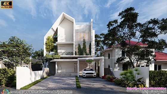 Unique style 4 bedroom contemporary house front view