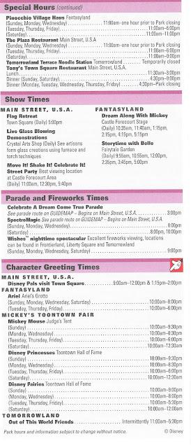 Back Side Times Guide Magic Kingdom October 4 10 2009