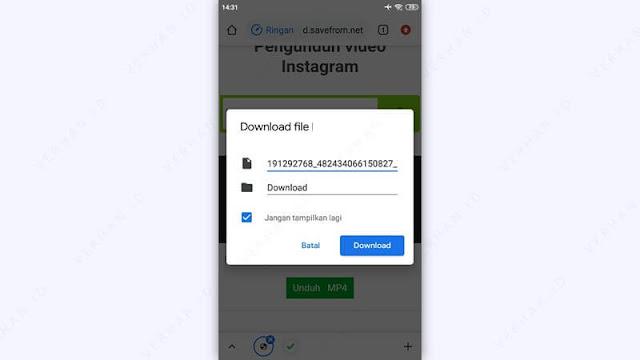 simpan video instagram ke galery hp