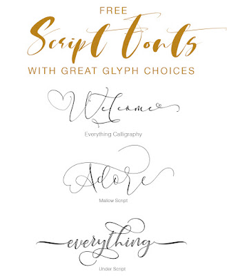 Script fonts with great glyph choices