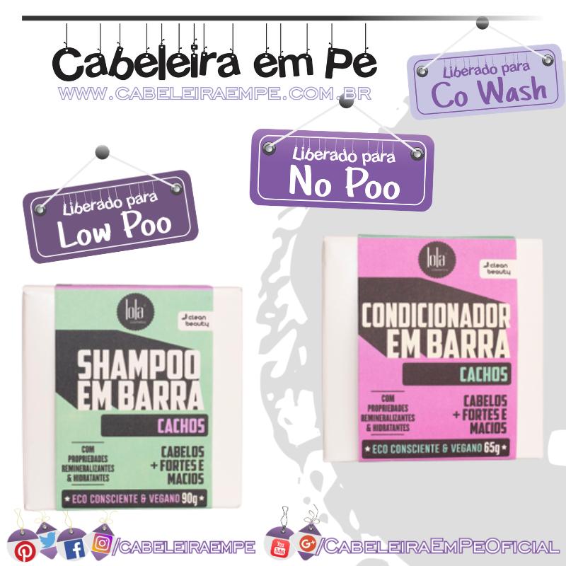 Shampoo (Low Poo) e Condicionador (No Poo e Co wash) em Barra Cachos - Lola