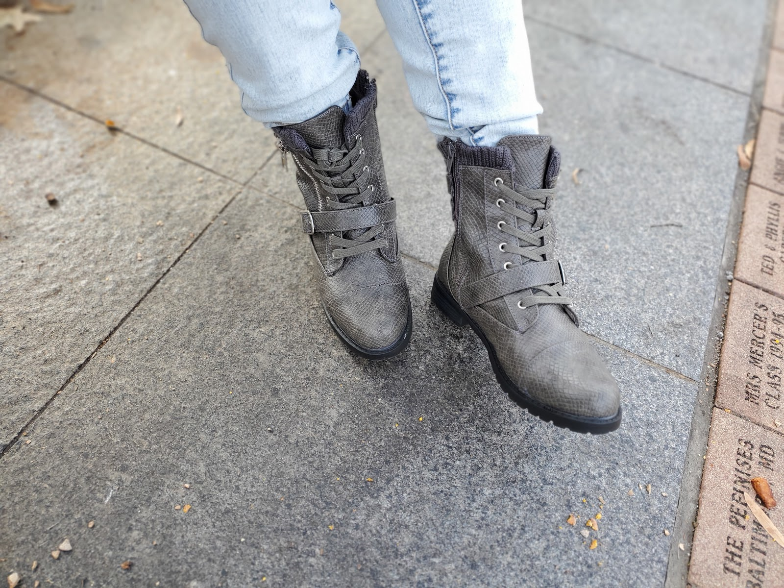The Most Comfortable Gray Faux Snakeskin Combat Boots for Women