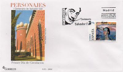sobre, PDC, sello, Dalí, personajes