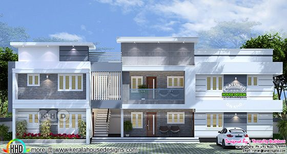 3d rendering of front elevation of this apartment