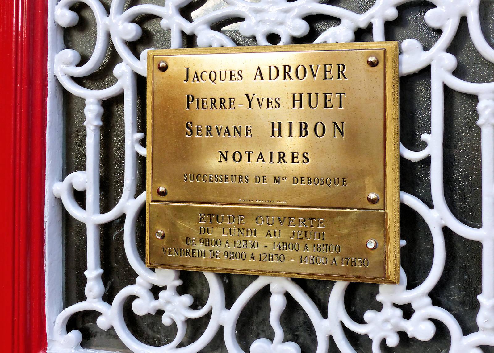 Notaires Adrover Huet Hibon Tourcoing - Plaque.