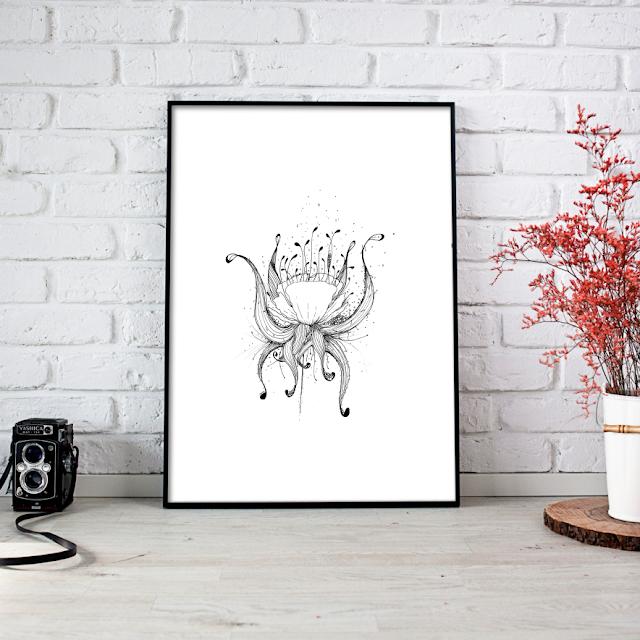Doodle Tentacle Flower Art