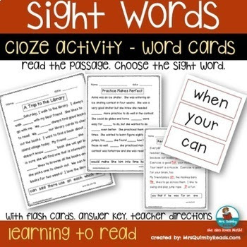reading for fluency, sight word practice