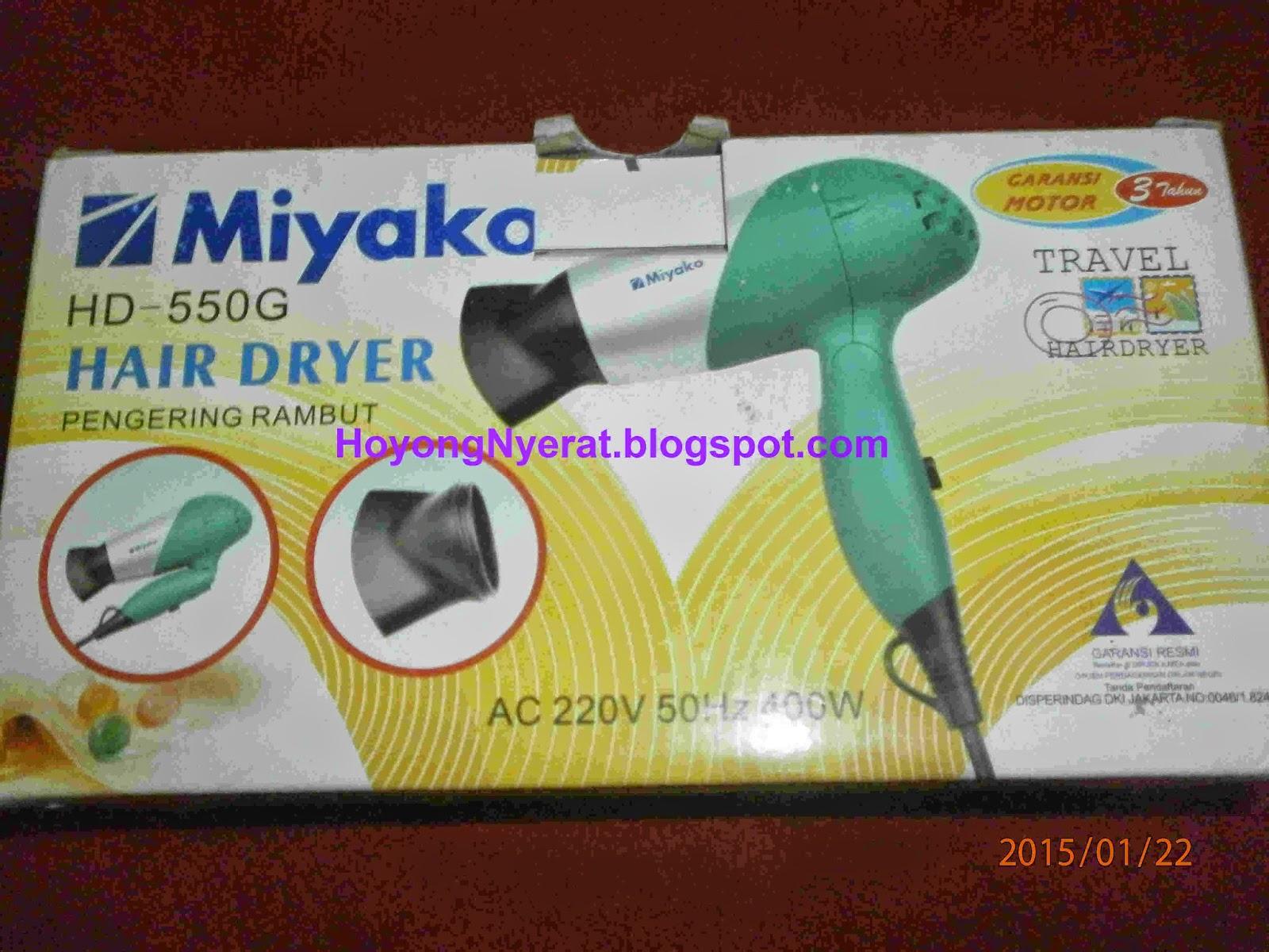 ... hairdryer dari merk Miyako dengan jenis HD-550G. Warnannya hijau 3c723dcf44