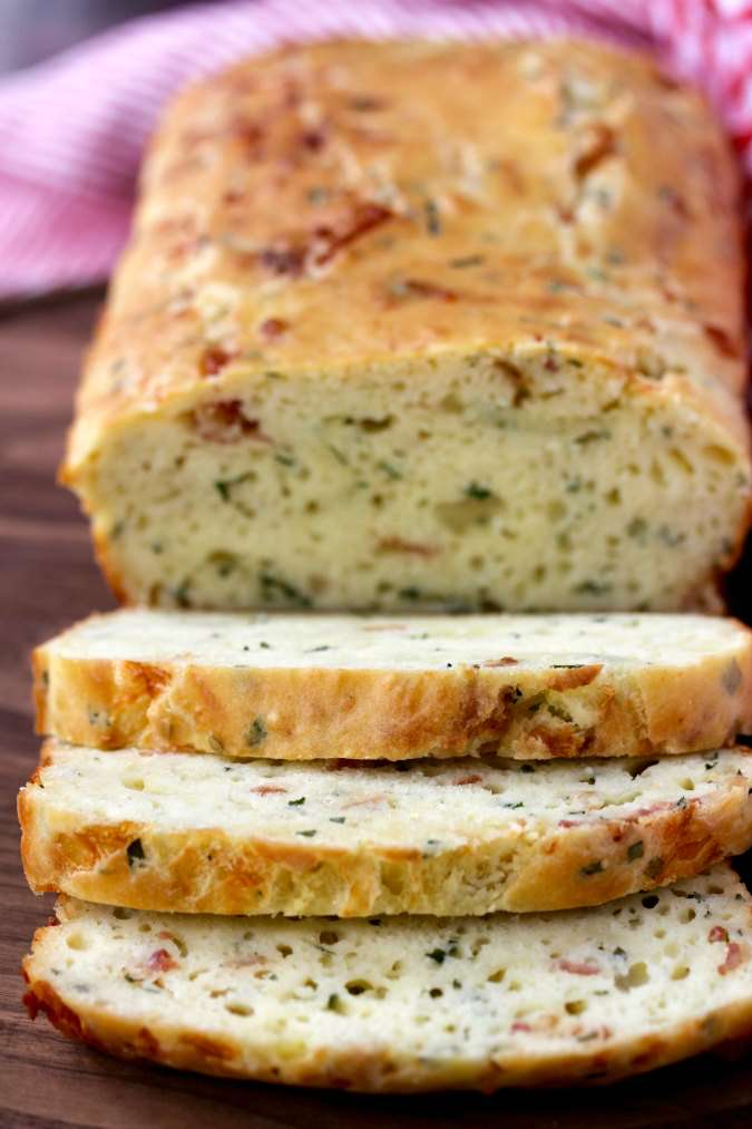 Sliced Cheddar Bacon Chive Quick Bread
