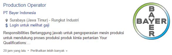 Lowongan Kerja PT Bayer IndonesiaTerbaru 2020