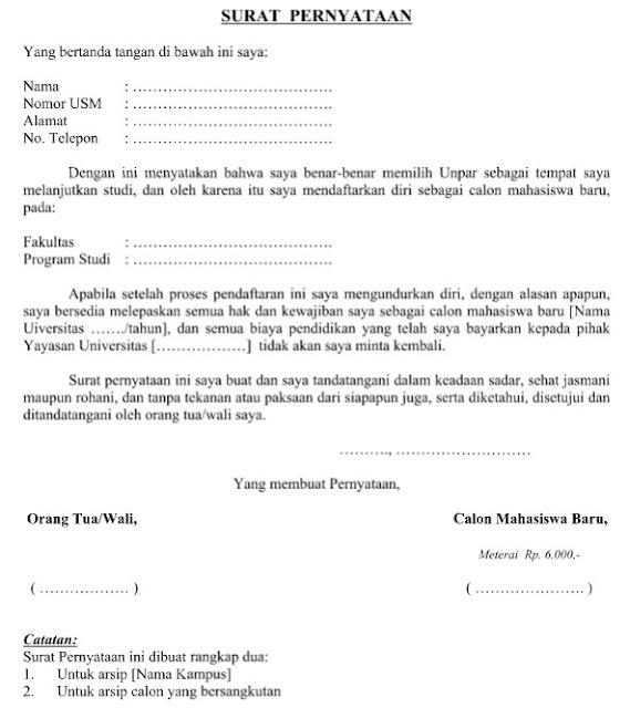 Contoh Surat Pernyataan Calon Mahasiswa Baru Resmi dalam Format Word