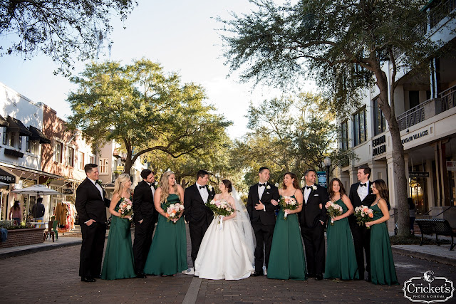 wedding party in black tux and green dresses
