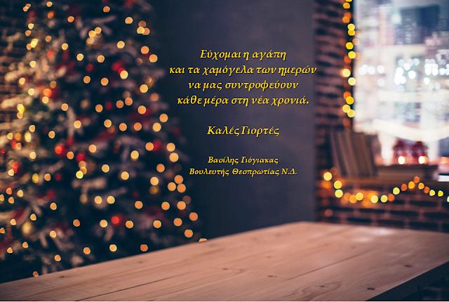 Χριστουγεννιάτικες ευχές του βουλευτή Θεσπρωτίας Βασίλη Γιόγιακα