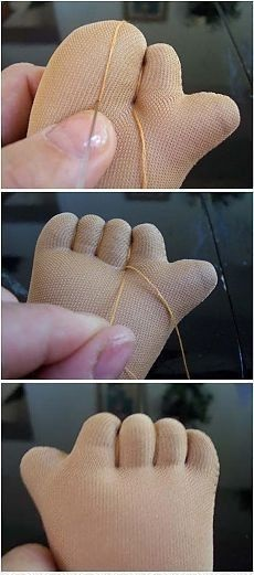 Como Fazer Mãozinha de Boneca de Pano com Dedinhos