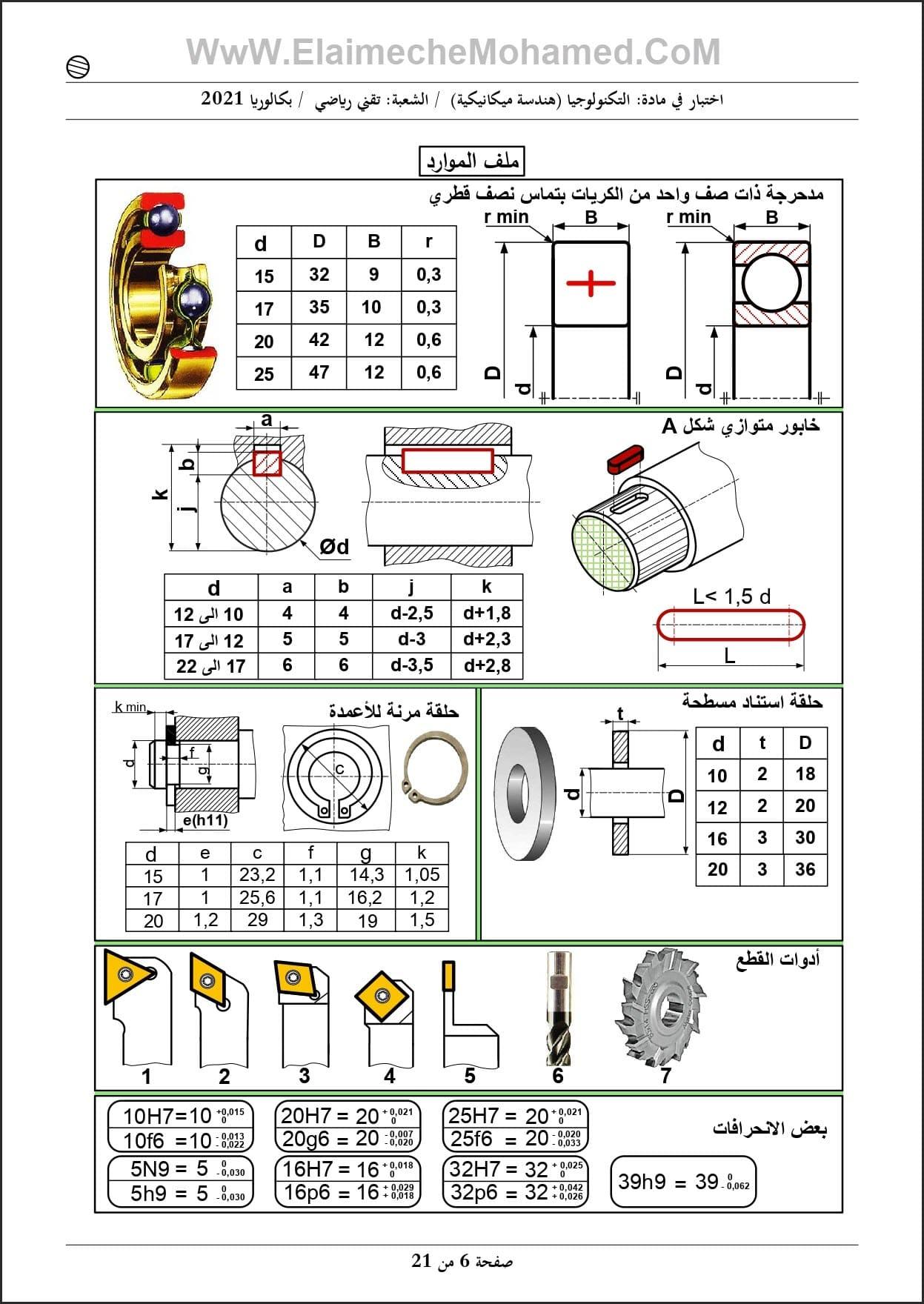 اختبار مادة الهندسة الميكانيكية مع الحل