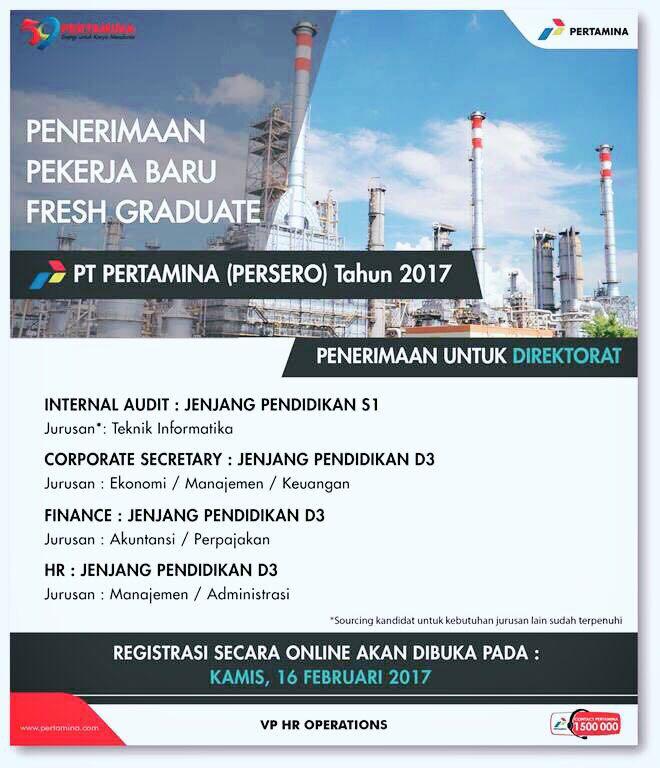 PT Pertamina (Persero) - D3, S1 Fresh Graduate Program