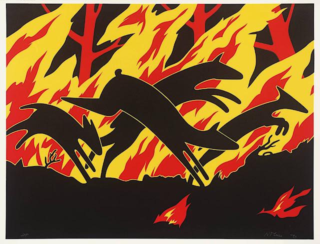 Nicholas Monro 1970, deer in forest fire
