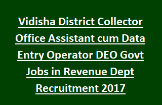 Vidisha District Collector Office Assistant cum Data Entry Operator DEO Govt Jobs in Revenue Dept Recruitment 2017