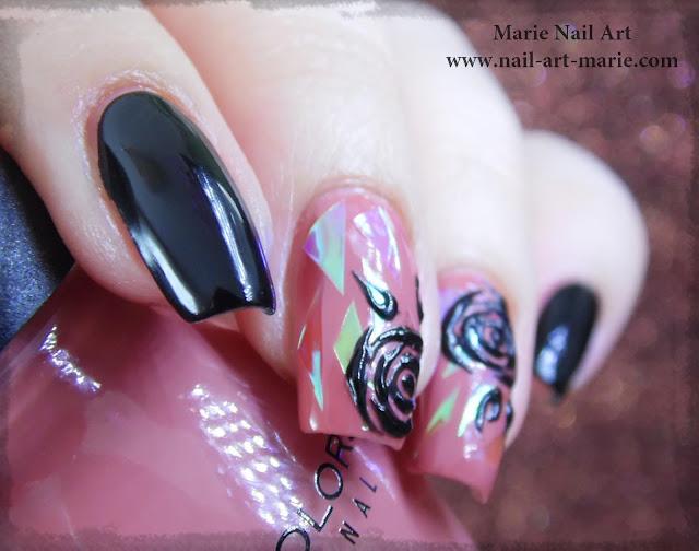 nail art roses noires en gel et glass nails3