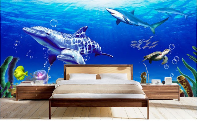 Dolphin wall mural Undersea 3d wallpaper bedroom aquarium animal underwater world shark turtle
