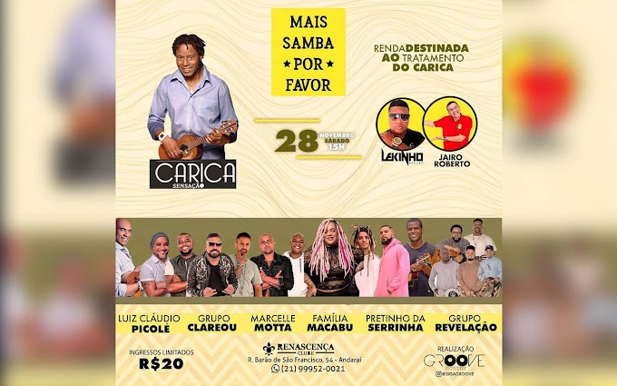 Roda de Samba em prol do Carica reúne grandes nomes do samba no RJ