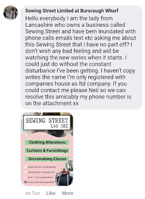 A screenshot of a facebook comment from the original sewing street business