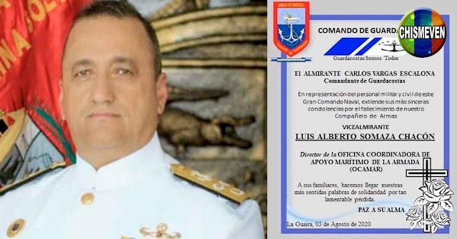 Vicealmirante enchufado al Régimen de Maduro falleció hoy con el virus