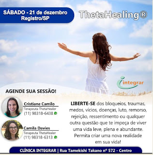 ThetaHealing® na Clínica Integrar em Registro-SP neste dia 21 de Dezembro
