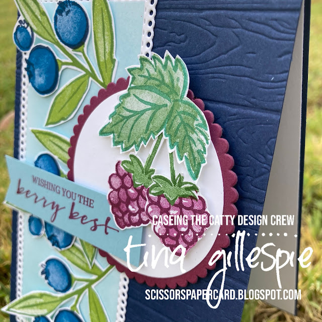 scissorspapercard, Stampin' Up!, CASEing The Catty, Berry Blessings, Sweet Strawberry, Ornate Layers Dies, Pinewood Planks 3DEF