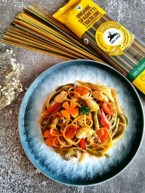 Sweet and Sour Chicken with Tricolore Spaghetti