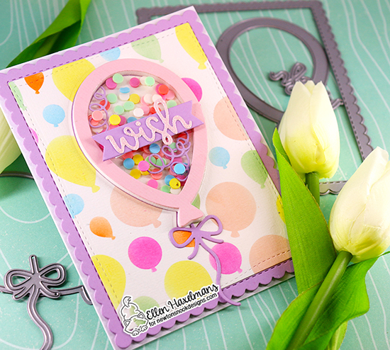 Balloon Shaker Card by Ellen Haxelmans | Balloon Shaker Die Set, Balloons Stencil and Frames & Flags Die Set by Newton's Nook Designs #newtonsnook #handmade