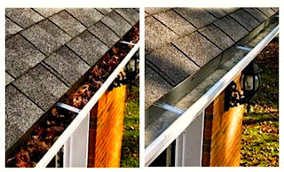 gutters before and after cleaning.