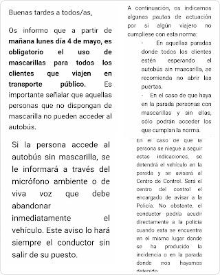 Indicaciones para el personal de TUSSAN (Sevilla): Nadie sube sin mascarillla.