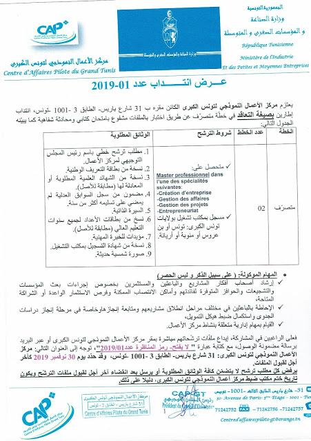انتداب إطارين مركز الأعمال النموذجي بتونس الكبرى  في خطة متصرف