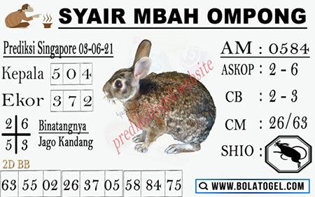Syair Mbah Ompong SGP Kamis 03 Juni 2021