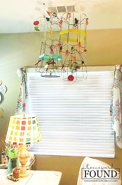art, boho style, boho, color, crafting, creative spaces, DIY, diy decorating, found objects, just for fun, junk makeover, re-purposing, tomato cage crafts, trash to treasure, up-cycling, birdcage crafts, lampshades, wire crafts, colorful ribbon crafts