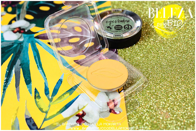 beleza purobio eyeshadow ombretti 17 verde prato 18 giallo indiano packaging  refile