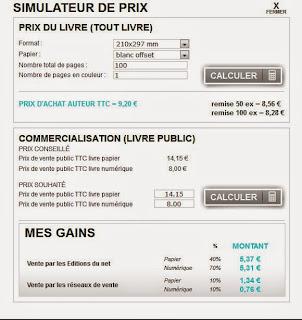 Les Éditions du net : coût de l'impression