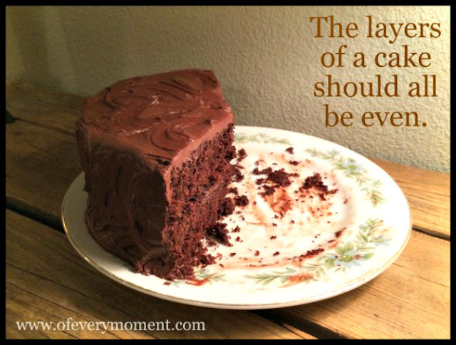 A partially cut double layer chocolate cake on a floral plate