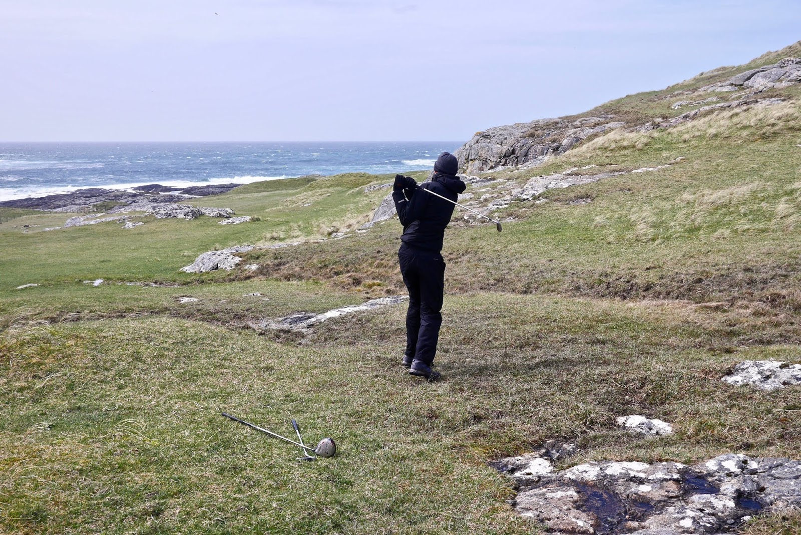 Barra Golf Course, Almost Chic and Cal McTravels during their Scottish Island Hopping in the outer Hebrides
