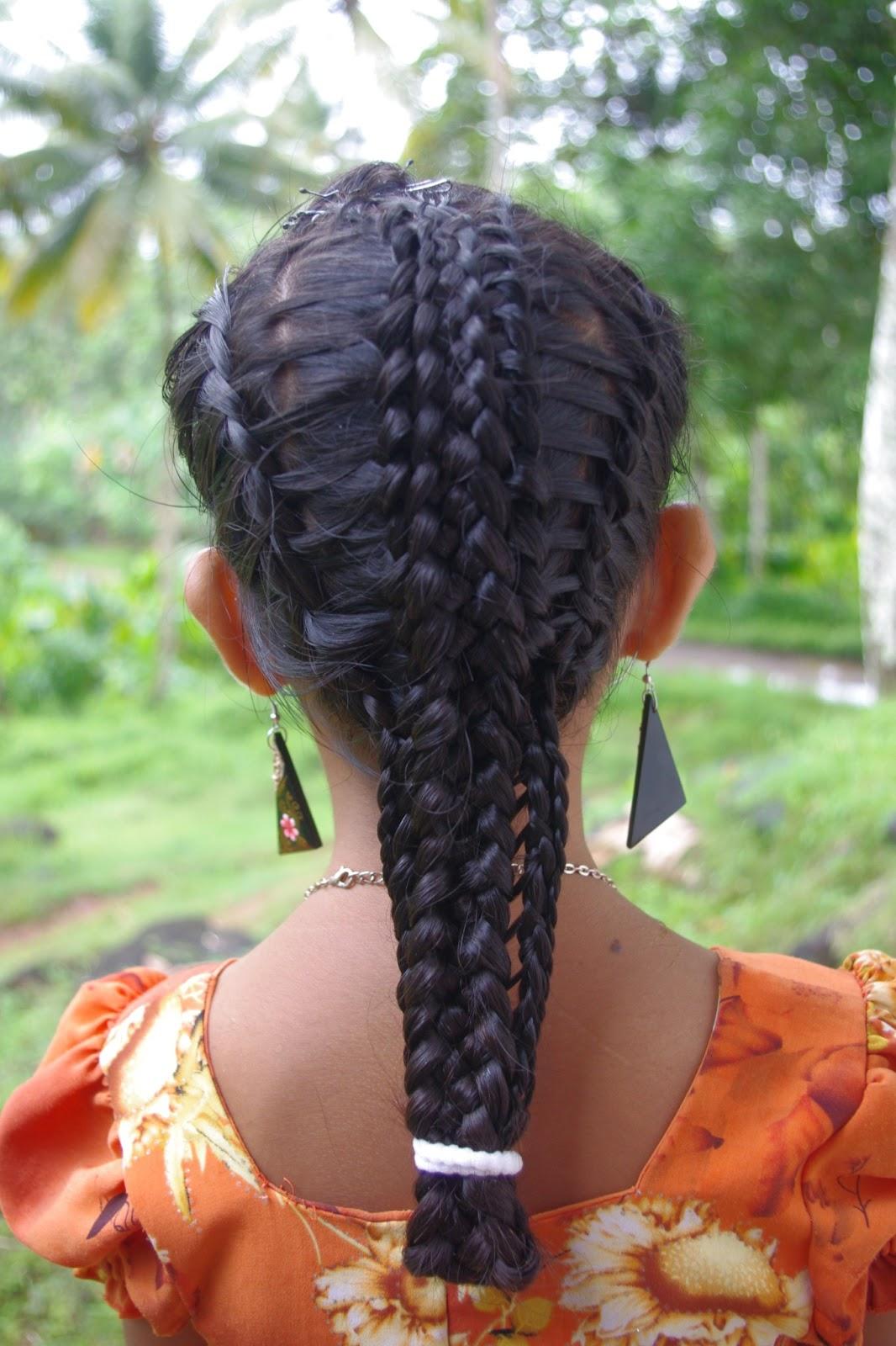 Micronesian Girl Basket Weave French Braids New